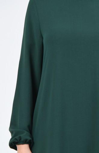 Aerobin Kumaş Kolu Lastikli Elbise 0061-09 Zümrüt Yeşil 0061-09