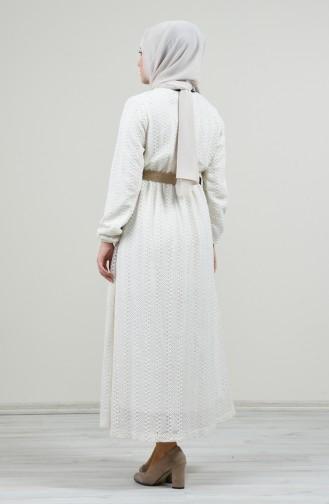 Kemerli Elbise 7060-01 Ekru