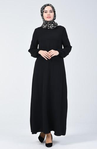 Aerobin Kumaş Kolu Lastikli Elbise 8090-01 Siyah