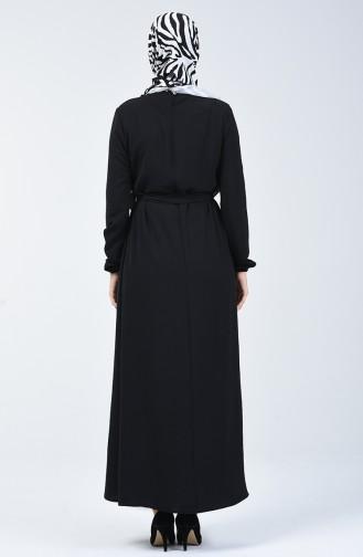 Aerobin Kumaş Kuşaklı Elbise 8091-04 Siyah