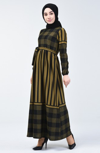Kuşaklı Elbise 5330-04 Hardal