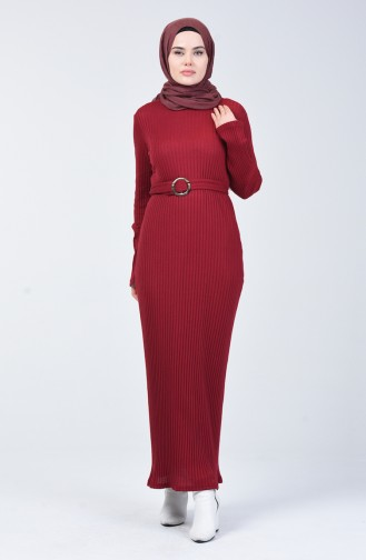 Kaşkorse Elbise 3141-05 Bordo