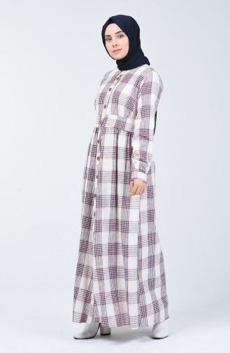 Ekose Desen Düğmeli Keten Elbise 3000-02 Bordo