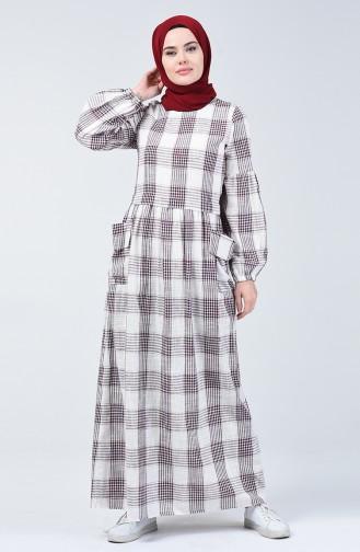 Ekose Desen Cepli Keten Elbise 3007-01 Bordo