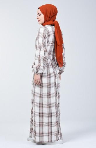 Robe en Lin à Motifs Carreaux 3007-02 Brique 3007-02