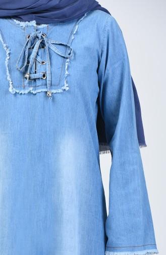 Bağcıklı Kot Elbise 3617-01 Kot Mavi