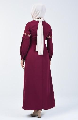 Nakışlı Elbise 5074-05 Mürdüm