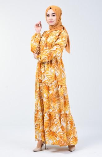 Palmiye Desenli Elbise 6030-01 Hardal