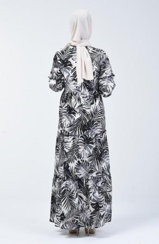 Palme Gemusterte Kleid 6030-02 Dunkel Blau 6030-02