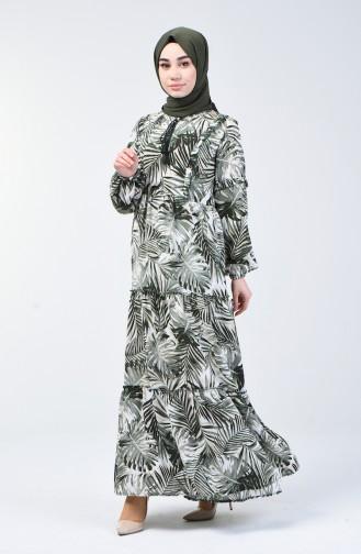 Robe à Motifs Palmier 6030-03 Khaki 6030-03