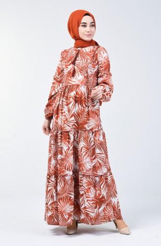 Palmiye Desenli Elbise 6030-04 Kiremit