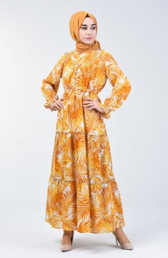 Palmiye Desenli Elbise 6033-04 Hardal