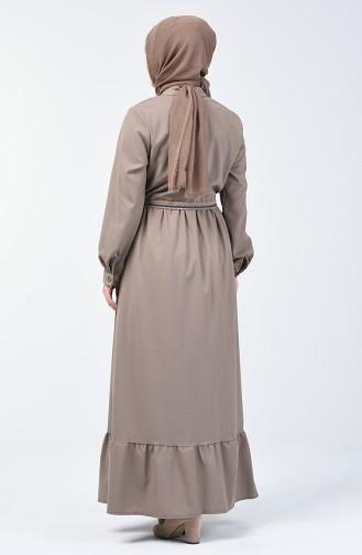 Boydan Düğmeli Nakışlı Elbise 6044-02 Vizon