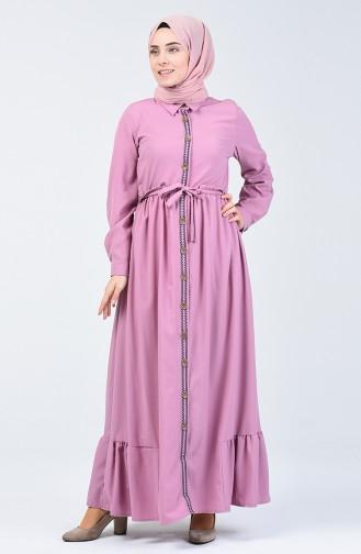 Boydan Düğmeli Nakışlı Elbise 6044-03 Gül Kurusu