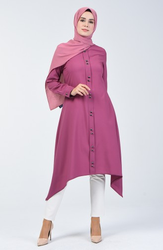 Button Detailed Tunic 3169-01 Dried Rose 3169-01
