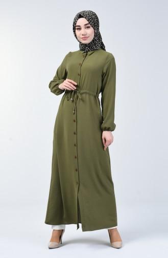 Aerobin Kumaş Boydan Düğmeli Elbise 5388-03 Açık Haki Yeşil