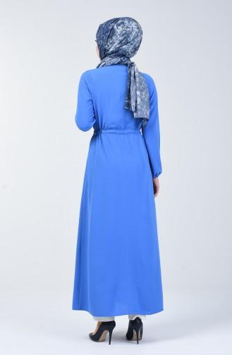 Aerobin Kumaş Boydan Düğmeli Elbise 5388-07 Mavi