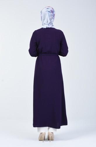 Aerobin Kumaş Boydan Düğmeli Elbise 5388-05 Patlıcan Renk