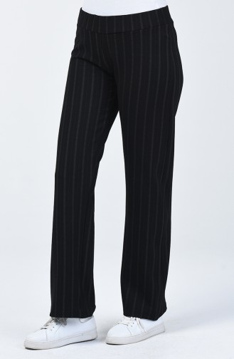 Striped wide Leg Pants 1511-01 Black 1511-01