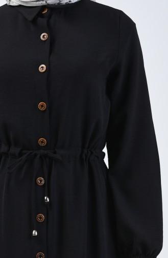 Aerobin Kumaş Boydan Düğmeli Elbise 5388-01 Siyah