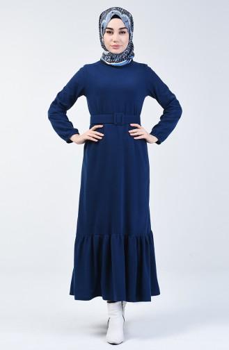 Selanik Kumaş Kemerli Elbise 1034-05 İndigo