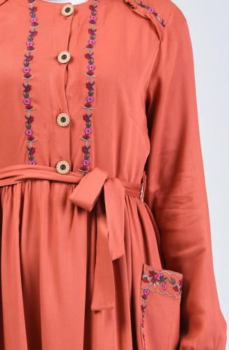 فستان قرميدي 3005-05