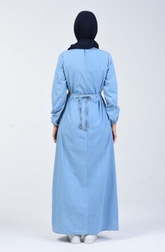 Robe Jean à Perles 3652-01 Bleu Glace 3652-01