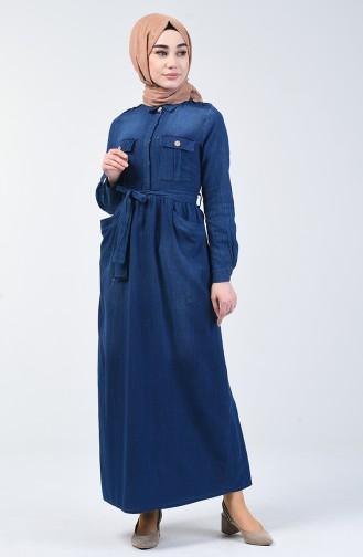 Hemd Kragen Jeans Kleid 5087-01 Dunkelblau 5087-01