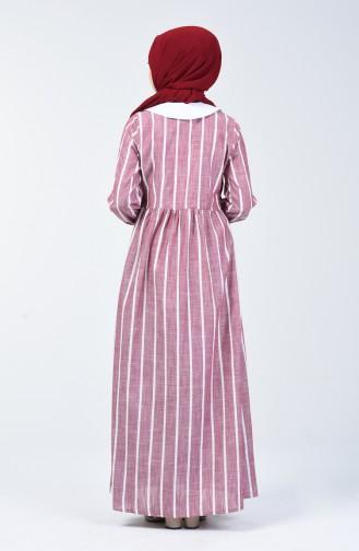 Çizgili Keten Elbise 6020-01 Bordo