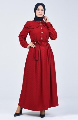 Belmondo Kumaş Kuşaklı Elbise 6024-01 Bordo