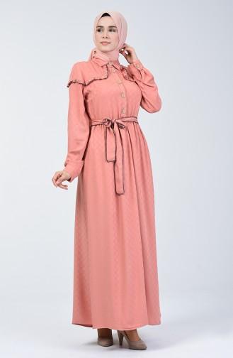 Belmondo Kumaş Kuşaklı Elbise 6024-02 Gül Kurusu