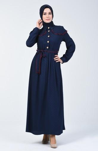Belmondo Kumaş Kuşaklı Elbise 6024-03 Lacivert