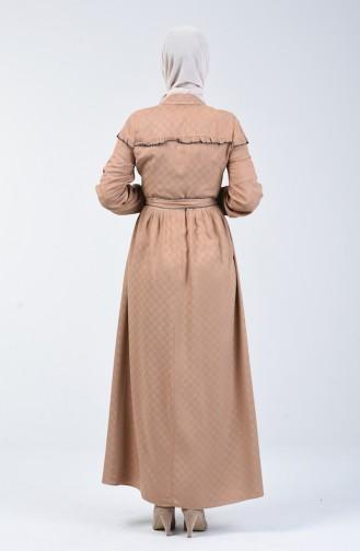 Belmondo Kumaş Kuşaklı Elbise 6024-04 Bej