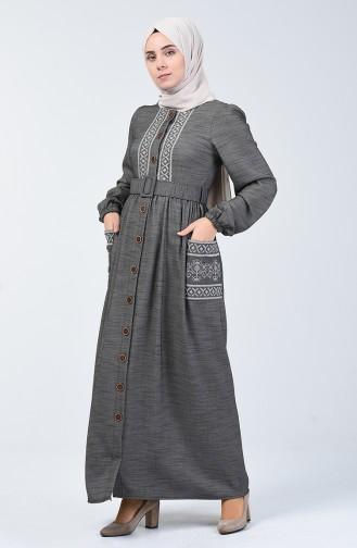 Besticktes Leinen Kleid 7000-03 Schwarz 7000-03