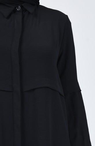 Aerobin Kumaş Gizli Düğmeli Tunik 0249A-01 Siyah