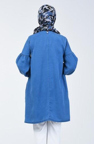 Kolu Lastikli Tensel Tunik 3008-02 Kot Mavi