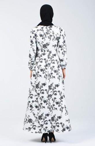 Kuşaklı Simli Elbise 60093-01 Beyaz