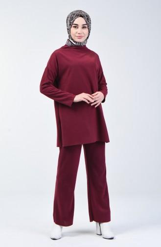 Selanik Kumaş Tunik Pantolon İkili Takım 3038-03 Bordo