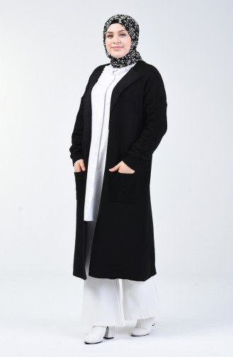 Tricot Long Sweater with Pockets 4204-06 Black 4204-06
