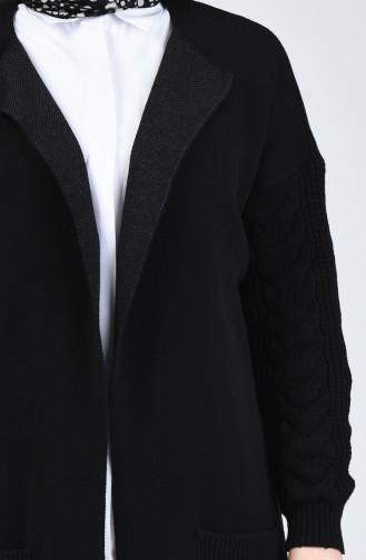Triko Cepli Uzun Hırka 4204-06 Siyah
