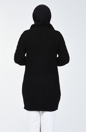 Triko Örgü Desen Kazak 4200-04 Siyah
