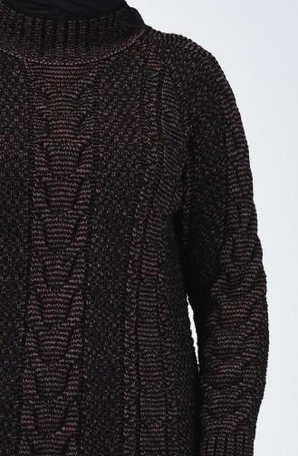 كنزة تريكو بنمط حياكة أسود ووردي فاتح 4200-06