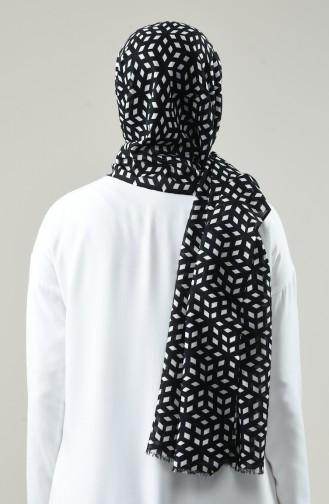 شال ألمينا قطني منقوش أسود 800-01