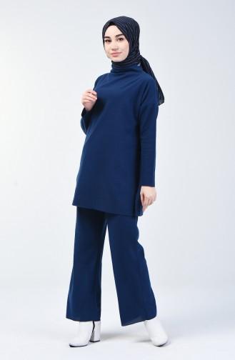 Selanik Kumaş Tunik Pantolon İkili Takım 3038-01 İndigo