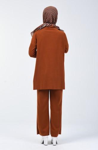 Selanik Kumaş Tunik Pantolon İkili Takım 3038-04 Taba