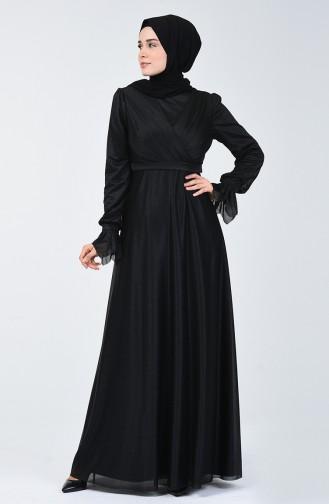 Simli Abiye Elbise 1009-03 Siyah