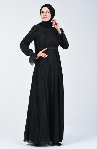 Silbriges Abendkleid 1009-03 Schwarz 1009-03