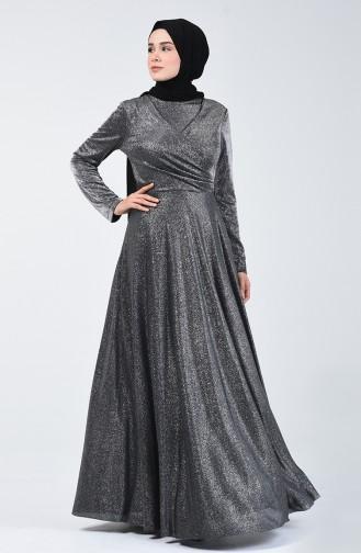 Simli Abiye Elbise 1011-02 Siyah 1011-02