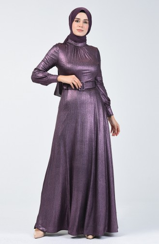 Kemerli Abiye Elbise 1013-02 Mor
