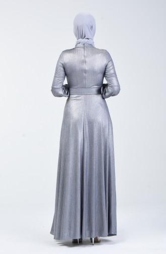 Kemerli Abiye Elbise 1013-03 Gümüş
